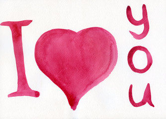 """""""I love you"""" with a heart painted by watercolor"""