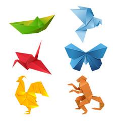 Set of origami animals
