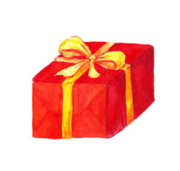 New year present box. Watercolor