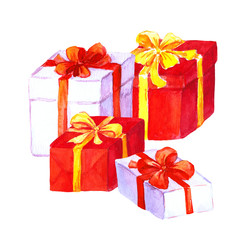 New year and christmas gifts. Red and white boxes with bows
