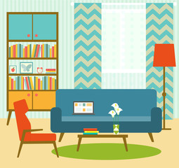 flat retro living room with sofa, chair and bookcase. vector illustration