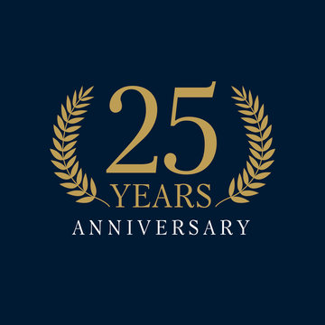 25 anniversary royal logo. Template logo 25th anniversary with a frame in the form of laurel branches and the number 25