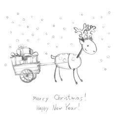 Deer and sledge with presents - greeting card, pencil