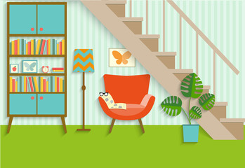 flat retro interior living room with bookcase,chair, newspaper.place to relax under the stairs. vector illustration