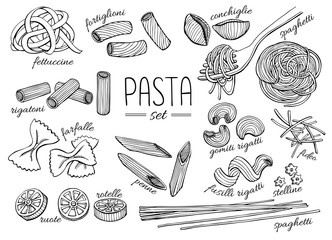 Vector hand drawn pasta set. Vintage line art illustration