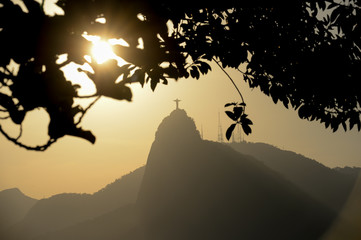 Corcovado Mountain view with the Christ Redeemer in silhouette