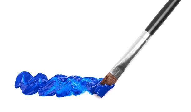 Paint brush with blue paint