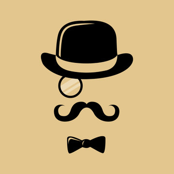 Hipster With Mustache Top Hat and Bow Tie Silhouette