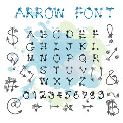 Black blue arrow alphabet uppercase letters.Hand drawn written w