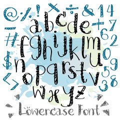 Black blue alphabet lowercase letters.Hand drawn written with a