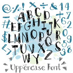 Black blue alphabet uppercase letters.Hand drawn written with a