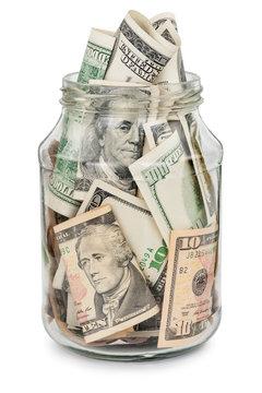 Many dollars in a glass jar