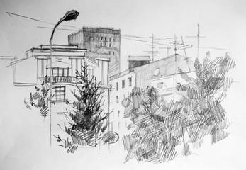 City, pencil drawing