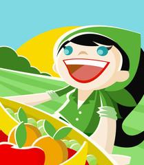 mujer alegre en el campo con canasto con verduras y frutas