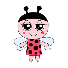 Vector cute ladybug girl in red dress with dots. Hand drawn doodle ladybug.