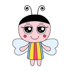 Vector cute butterfly girl in dress with stripes. Hand drawn doodle butterfly.