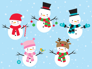 Vector illustration of snowman dress up in different costumes.