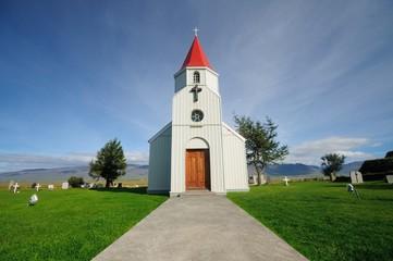 The white Church in Glaumbær, Iceland