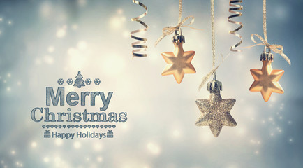 Merry Christmas message with hanging stars