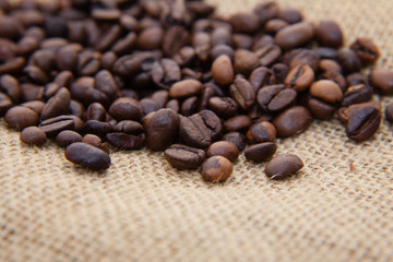 Pile of fine roasted coffee beans
