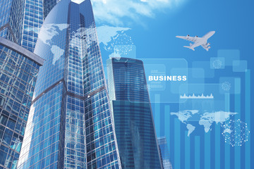 High-rise buildings with jet and business word