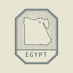 Stamp with the name and map of Egypt