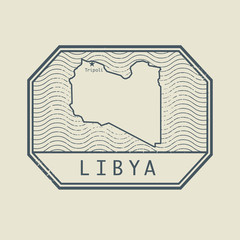 Stamp with the name and map of Libya