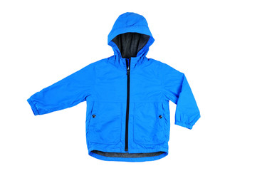 Trendy child blue sport jacket isolated on white