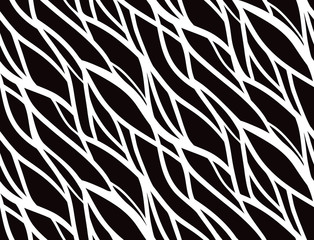 Seamless black and white pattern with doodle lines for your creativity