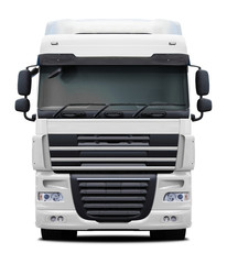 White DAF XF truck front view isolated on white background.