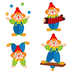 circus clown in action - vector illustration, eps