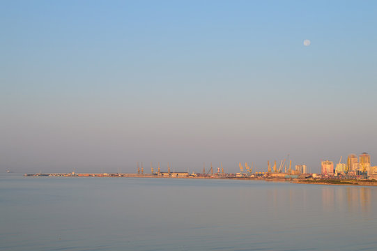 Full Moon Above The Port of Durres, Albania