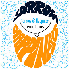 Colorful Hand drawn emotions lettering sorrow and happiness