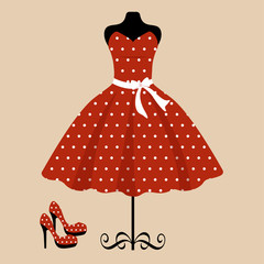 mannequin and retro red dress