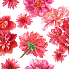 Red and pink watercolor dahlias seamless background pattern