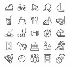 Icons entertainment, leisure, outline, white background.