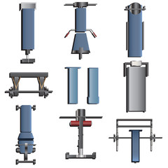 Fitness equipment top view set 2 for interior ,vector illustration