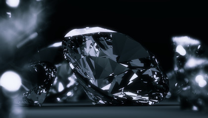 Round diamonds jewelry dark background