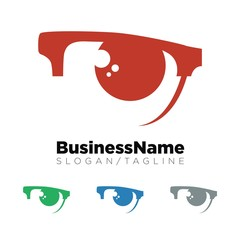 Eye Glass vector logo icon