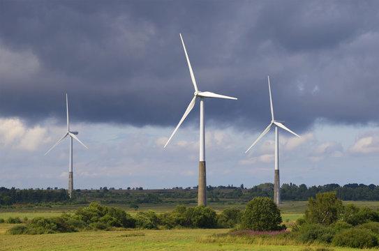 Три ветряных электрогенератора на фоне грозового неба. Эстония