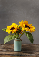 Fototapete - Two beautiful sunflowers