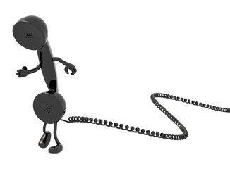 retro telephone handset and cable cartoon that run