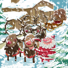 Christmas snowing scene of cartoon Santa preparing sleigh and re