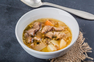 Traditional Polish soup with forest mushrooms