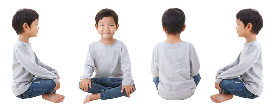 4 sides of boy siting on white background