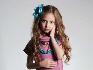 fashionable beautiful little girl.pretty little lady