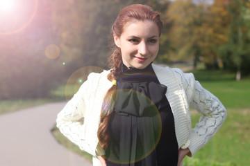 girl business style park portrait autumn