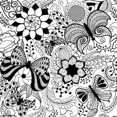 Floral hand drawn zentangle, ethnic seamless pattern with butterfly