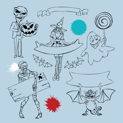Set of vector charactres and graphic elements for Halloween Design. Zombie, cute witch, bats, funny ghost, little dragon, skeleton with pumpkin, different blood splashes, ribbons for text. Isolated.