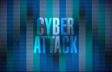 cyber attack binary sign concept